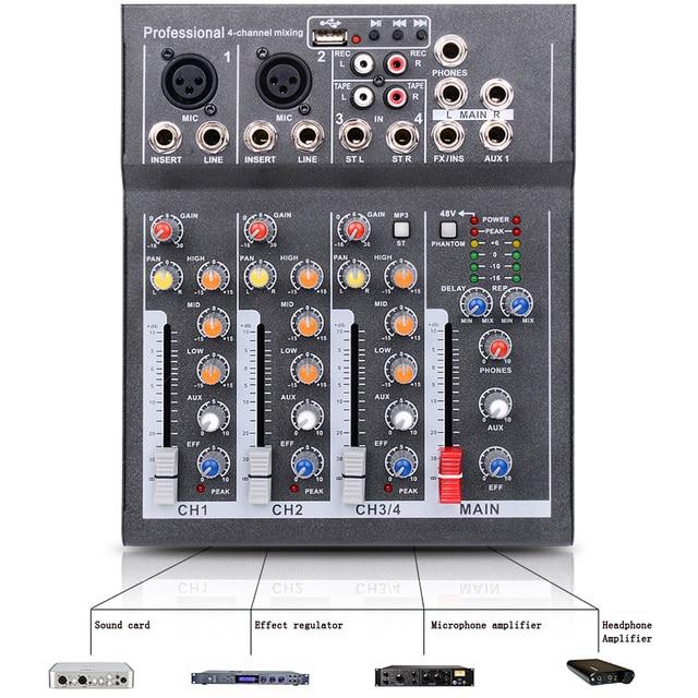 Mini Portable Audio Mixer with USB DJ Sound Mixing Console  3