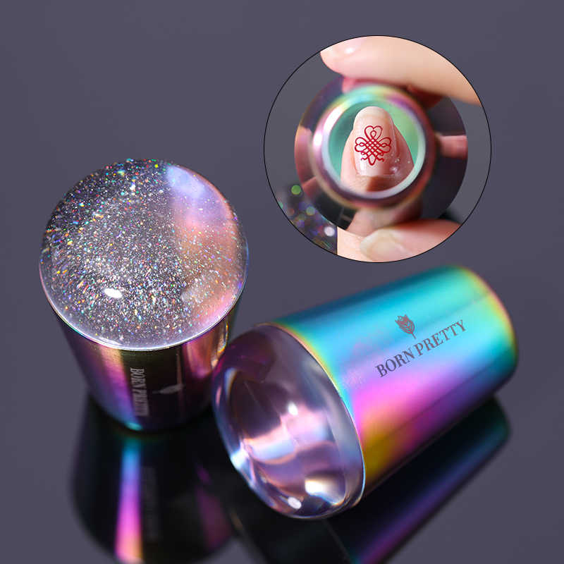 BORN PRETTY handle Holographic Transparent Nail Stamper for Stamping Plate Holo Clear Stamper Head Nail Art Templates