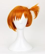 Peluca de Cosplay de Pokémon Pocket Monster, postizo corto de estilo naranja resistente al calor, peluca de disfraz del pelo + gorro de peluca gratis