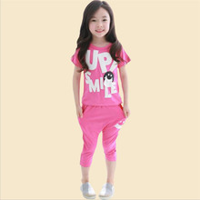 Wholesale Girls Summer Clothing Set Children's Clothing O-neck Short Sleeve Letters Printed 7/10 Harem Pants Two Pieces Suits