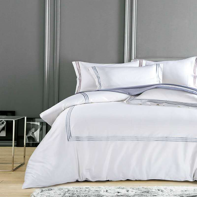 Pure White Luxury Hotel Bedding Sets King Queen Size Silver Gold Embroidery Duvet Cover Cotton