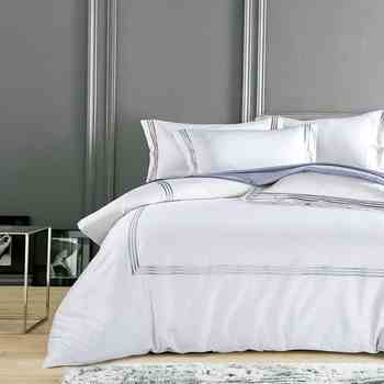 Pure White Luxury Hotel Bedding sets King Queen size Silver Gold Embroidery Duvet cover Cotton Bed sheet linen set Pillow cover - DISCOUNT ITEM  42% OFF All Category