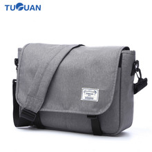 TUGUAN Men Messenger Bags Canvas Waterproof 14 Inch Laptop Crossbody Bag for Unisex School Business Travel Bag  Free Shipping