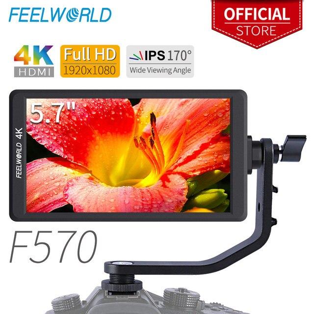 """Feelworld F570 5.7"""" IPS Full HD 1920x1080 4K HDMI On-camera Field Monitor for Canon Nikon Sony DSLR Camera Gimbal Rig"""