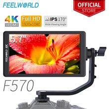 "Feelworld F570 5.7 ""IPS מלא HD 1920x1080 4K HDMI על מצלמה שדה צג עבור Canon ניקון Sony DSLR מצלמה Gimbal Rig"