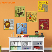 Unframed 6panel Monkey Lion And Giraffe Animal Family Conbination Modern Home Wall Decor For Kid Room