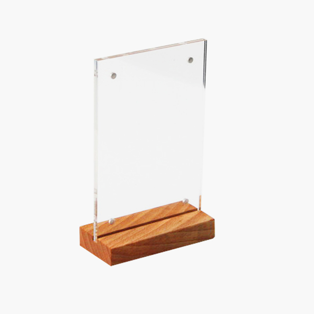 A6 Wooden Acrylic Price Sign Frame Display Table Stand Desk Sign ...