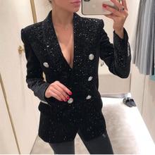 HIGH STREET Neueste Barock Mode 2020 Designer Blazer Jacke frauen Schal Kragen Bling Stern Samt Blazer Mantel