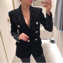 Yüksek sokak yeni barok moda 2020 tasarımcı Blazer ceket kadın şal yaka Bling yıldız kadife Blazer ceket