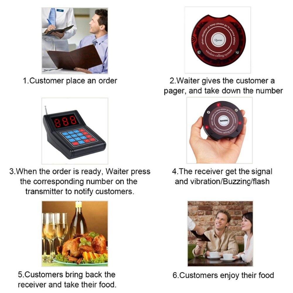 Système d'appel de Restaurant téléavertisseur sans fil système de mise en file d'attente pour invités Beeper 1 transmetteur de clavier + 10 téléavertisseurs - 6