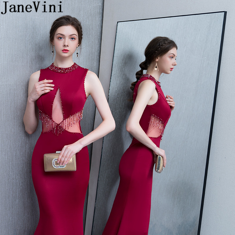 JaneVini 2019 Burugndy Mermaid Evening Dresses Beadings Long Women Beaded Event Party Dress Sexy Tight Fitted Jewel Satin Gowns