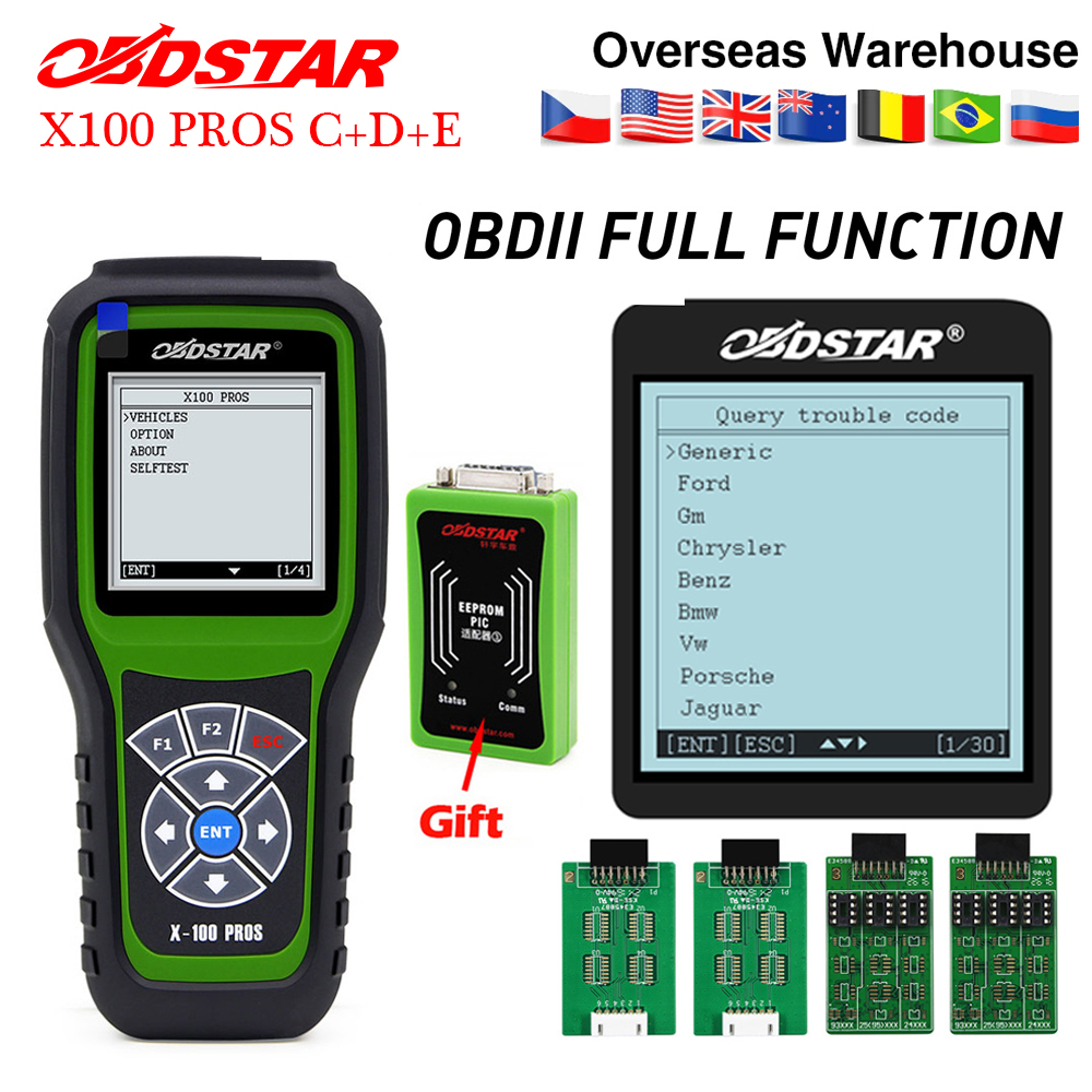 OBDSTAR X100 PROS Auto Key Programmer for IMMO Odometer OBD Software C D E including EEPROM
