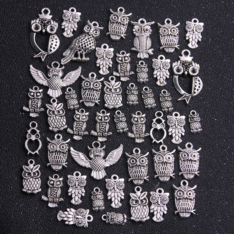 20pcs Vintage Metal Mixed Two color Random Owl Charms Animal Pendants For Jewelry Making Diy Handmade Jewelry 2