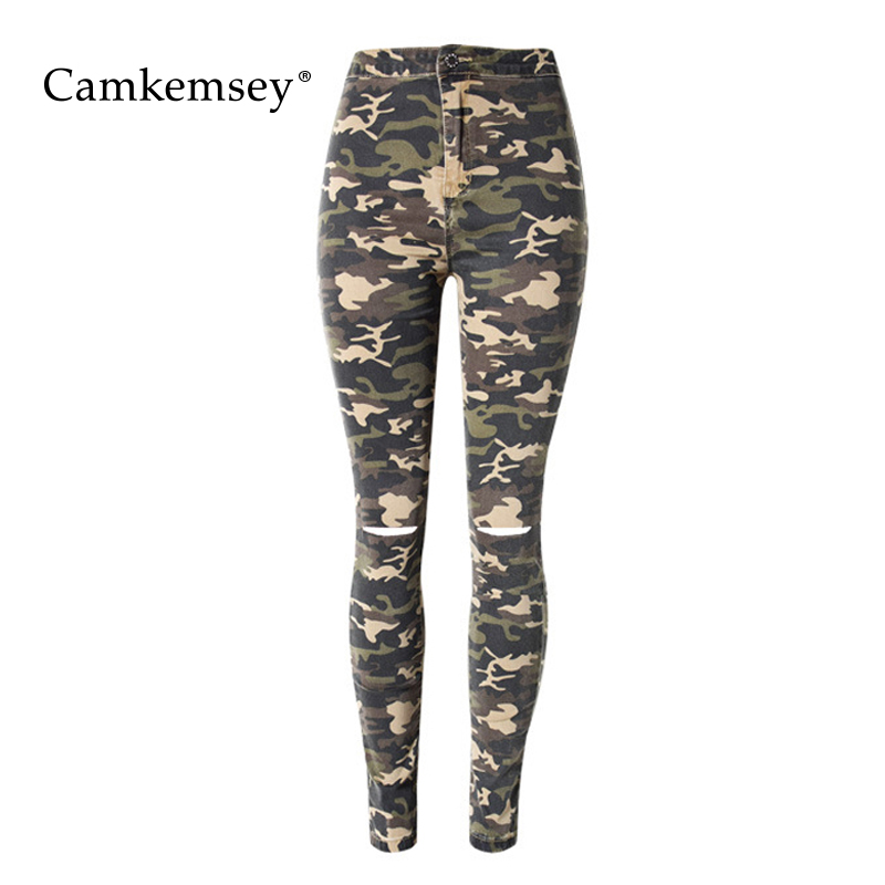 CamKemsey Holes Ripped Jeans For Women High Waist Stretch Skinny Jeans Woman Military Camouflage Denim Pencil Pants Female