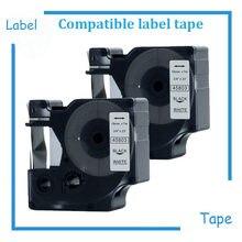 2PK 19 MM Fita Etiqueta Compatível Para DYMO D1 45803 Para Impressora DYMO Preto no Branco 3/4x23