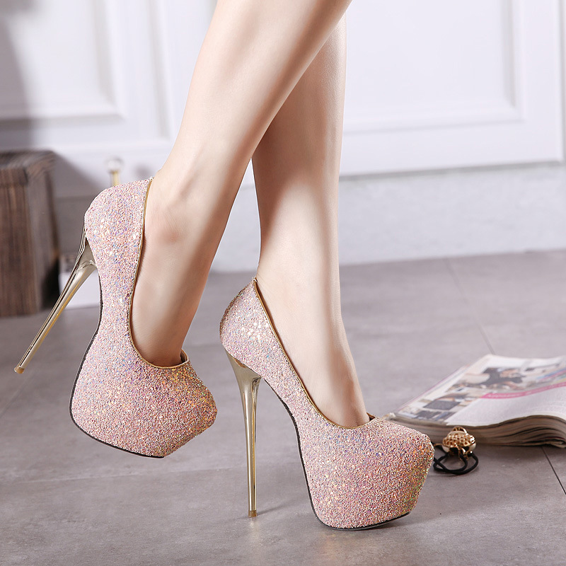 Europe and America with 16CM sexy nightclub high heel waterproof table, color change sequins, high heel shoes 40 yards. europe and super high heels 14cm fashion shoes waterproof fish head sexy nightclub fine with plaid shoes