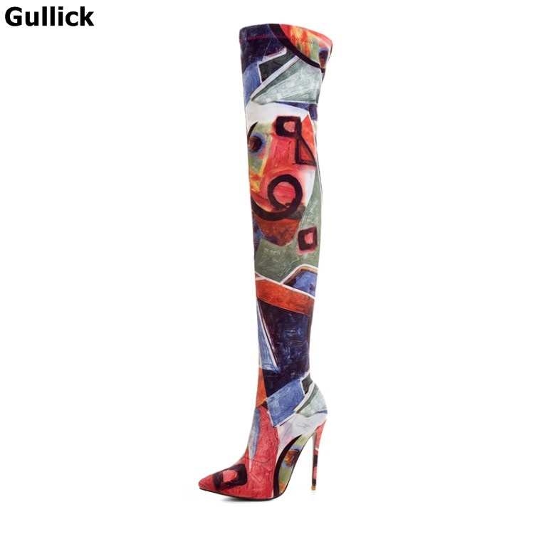 Gullick Hot Selling Women Colorful Over The Knee Long Boots Pointed Toe Thin and High shoes Super Fashion and Elegance ShoesGullick Hot Selling Women Colorful Over The Knee Long Boots Pointed Toe Thin and High shoes Super Fashion and Elegance Shoes