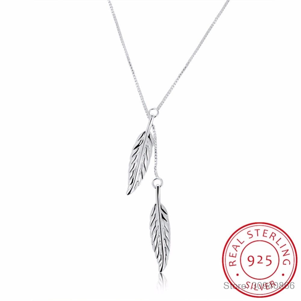 Brand Designer Vintage Double Leaves Pendant Necklaces Collier 925 Sterling Silver Chain Women Elegant Necklace