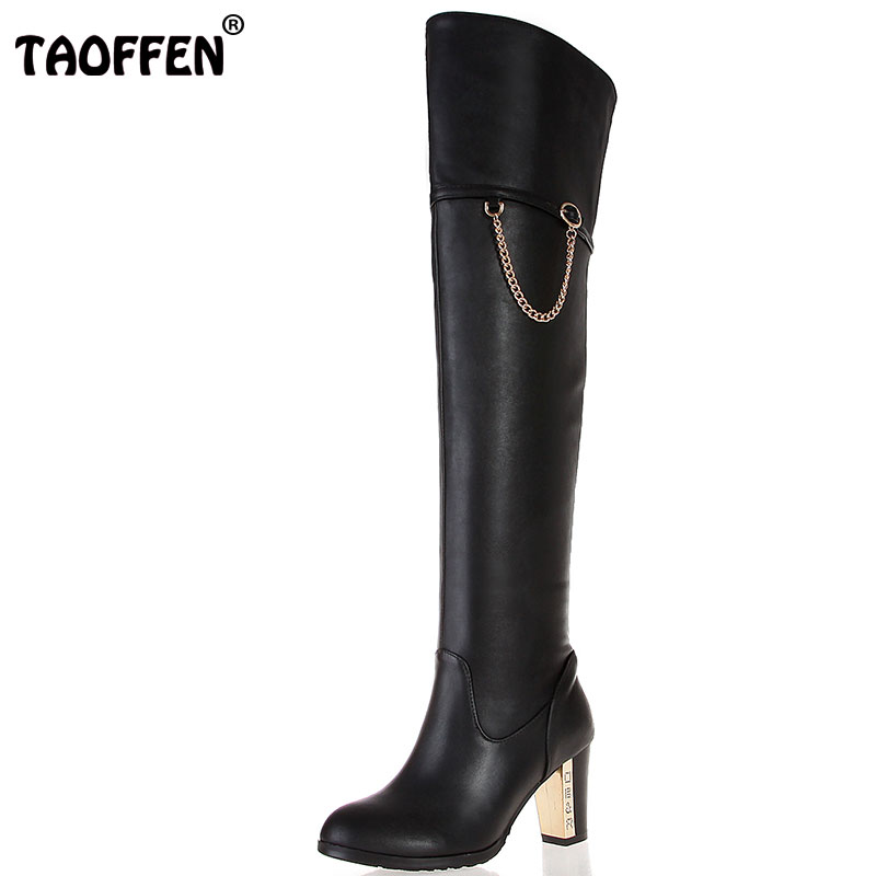 TAOFFEN Free shipping over knee natrual real genuine leather high heel boots women snow winter warm shoes R1535 EUR size 30-45 free shipping over knee natrual genuine leather high heel boots women snow winter warm boot shoes coolcept r1538 eur size 30 45