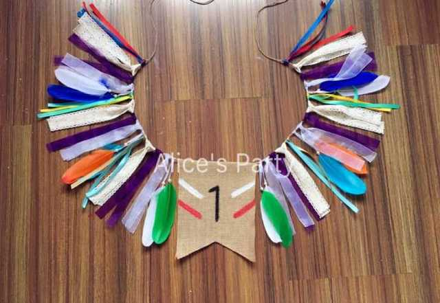 Native Indian Themed Bunting Boho Feathers High Chair Banner Baby