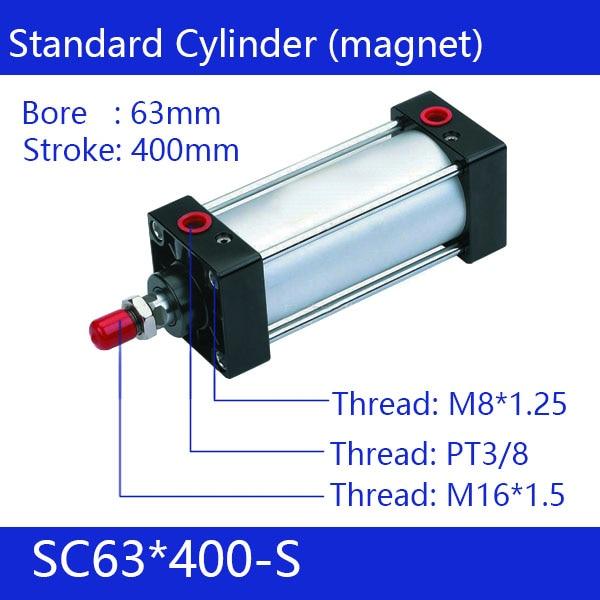 SC63*400-S   63mm Bore 400mm Stroke SC63X400-S SC Series Single Rod Standard Pneumatic Air Cylinder SC63-400-S sc63 250 s 63mm bore 250mm stroke sc63x250 s sc series single rod standard pneumatic air cylinder sc63 250 s
