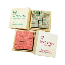 25pcs/set Diary Pattern Wooden Box Stamp Rubber Lovely Cute DIY Writing Scrapbooking Stamp Gift Clear Stamps For Scrapbooking gsfy 40pcs set happy life diary girl cute cartoon mounted rubber stamp wooden box