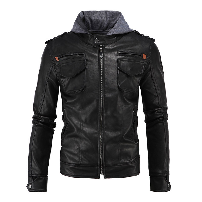 New Retro Vintage Motorcycle Jackets Hooded Safari Coats Black Moto Jacket With Hat Hoodie Punk Style Leather Jacket Size M-5XL женское платье brand new 2015 vestidos 5xl s m l xl xxl xxxl 4xl 5xl