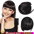 100% Реального HumanHair расширение Реми бразильские волосы fringe Аккуратные челки Тупой оголовье парик шиньоны для женщин Горячие красоты Rosa Средства для волос