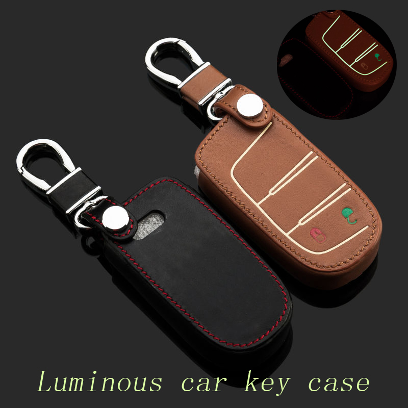 Genuine Leather Car Keychain Key Fob Case Cover for Dodge ...