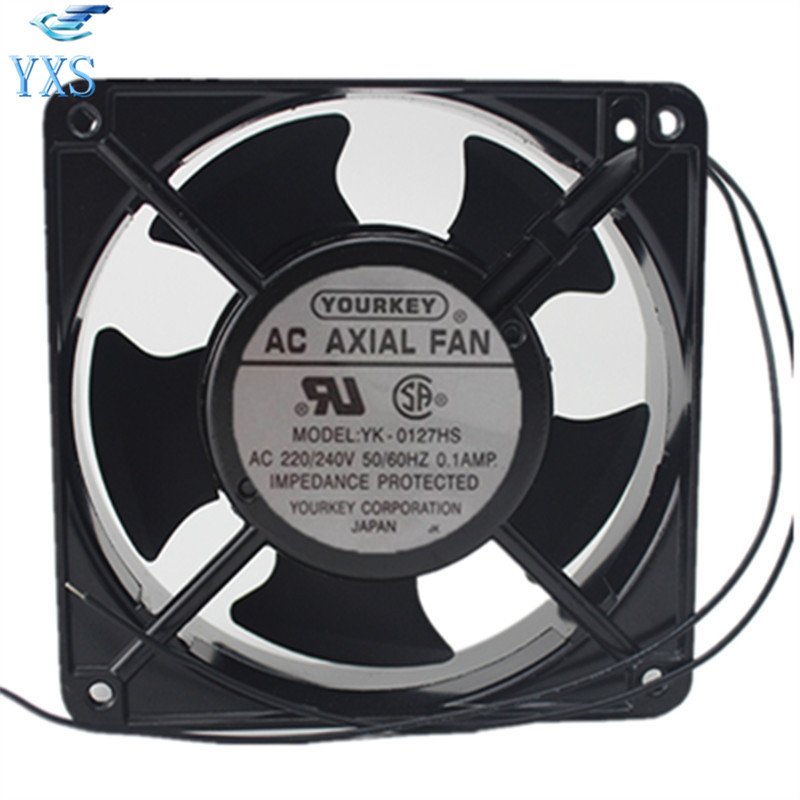 YK-0127HS AC 220V 240V 0.1A 50/60HZ 12038 12CM 120*120*38mm 2 Wires Cabinet Industrial Chassis Cooling Fan sunon free shipping new original taiwan blower fan dp200a p n2123hsl 1238 12cm 12038 120 120 38mm 220v wire type
