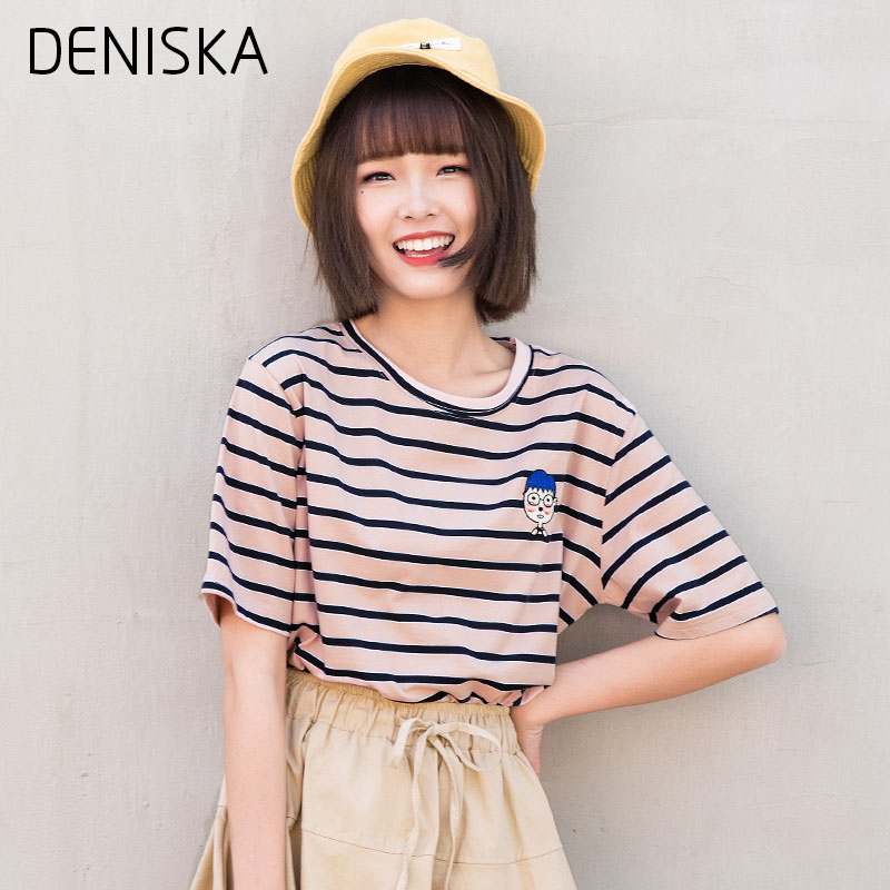 DENISKA Fashion Women T-shirts Casual O Neck Striped Short Sleeves Casual T-shirt With Embroidery For Women Spring Summer Tops