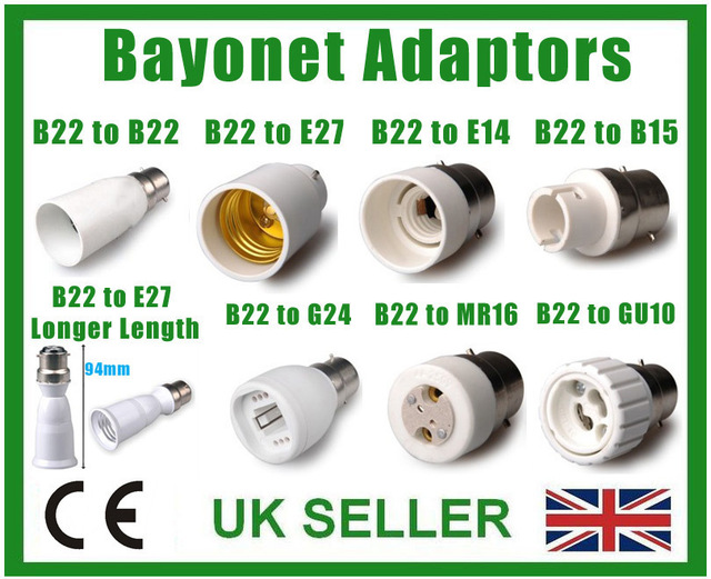 25 TYPES OF LIGHT SOCKET ADAPTOR BASE CONVERTER EXTENDER LAMP HOLDER BC ES GU10