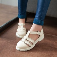Summer Closed Toe Flat Sandals For Girls Student Korean Flat With Rome T Strap Sweet Lady