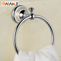 New Arrivals Luxury Brass Antique Copper and ceramic Chrome Finished Towel Ring Towel Holder, Towel Bar Bathroom Accessories