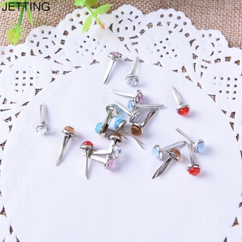 20PCs Metal Crafts Decoration Mixed Rhinestone Round Brads Scrapbooking Embellishment Fastener Brads image
