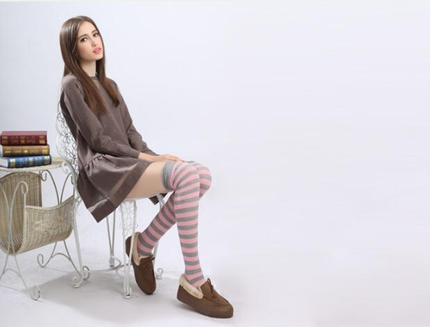 Fashion Women OVER KNEE Stockings Rainbow Striped High Long Stripey Stocking Hot