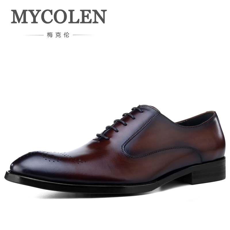 MYCOLEN New Brogue Designer Genuine Leather Business Dress Men Shoes Classic Comfortable Fashion Men Shoes Sapatos Social mycolen luxury designer genuine leather business comfortable dress men shoes brogue classic mens shoes casual zapatos de vestir