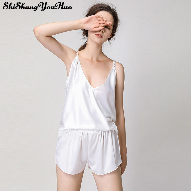 2019 Ice Silk Twinset Korean Solid Color Women Pajamas Camisole Pajama Set Woman Summer Vest Shorts Suit <font><b>Camison</b></font> <font><b>Sexy</b></font> <font><b>Mujer</b></font> image