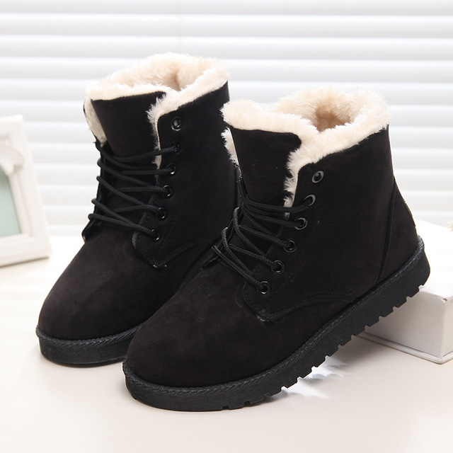 Women Flock Fur Flat Lace Up Winter Snow Suede Ankle Boots Female 3
