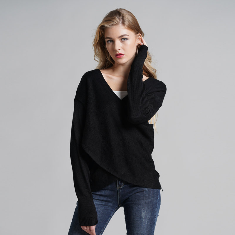 2019 New Autumn Winter Women Sweater Cross Stitching White Pullovers Round Neck Temperament Commute Normal Thickness Loose