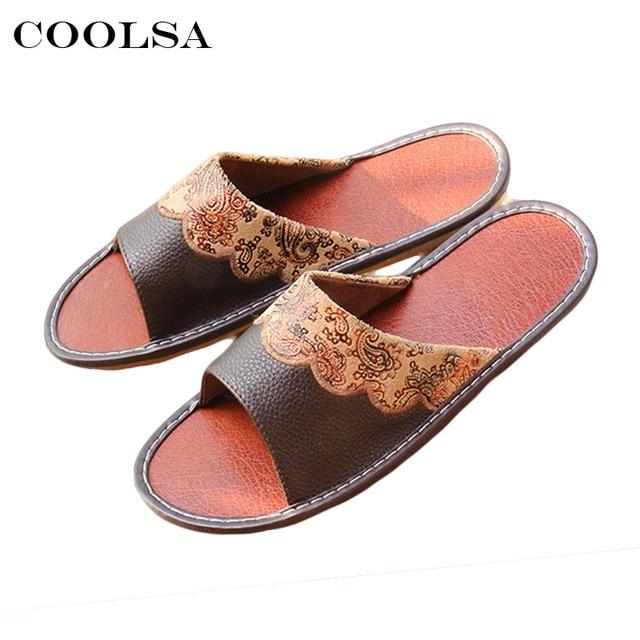 4b9371c4b077 Coolsa Hot Summer Men PU Slippers Printing Paisley Sewing Oxford Slides  Flat Non Slip Indoor Flip Flops Man Casual Beach Sandals