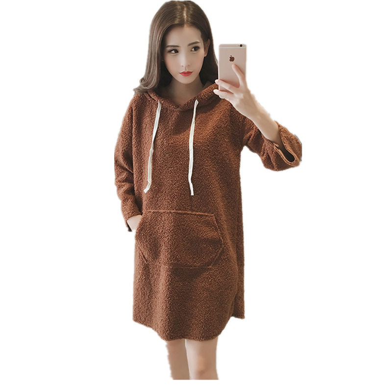 Winter new Korean students loose long paragraph plus velvet thick hooded sweater dress woolen dress female maxi jupe MZ1240