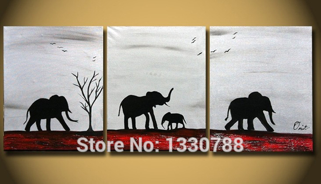 3 Piece Canvas Wall Art Set Hand Painted Oil Painting Animals