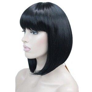 Image 3 - StrongBeauty 女性のかつらきちんとビッグバンボブスタイルショートストレートヘア黒/ブロンド合成フルウィッグ 6 色
