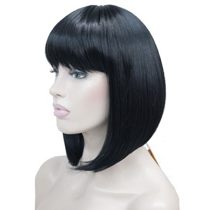 Image 3 - StrongBeauty Womens Wigs Neat Bang Bob Style Short Straight Hair Black/Blonde Synthetic Full Wig 6 Color
