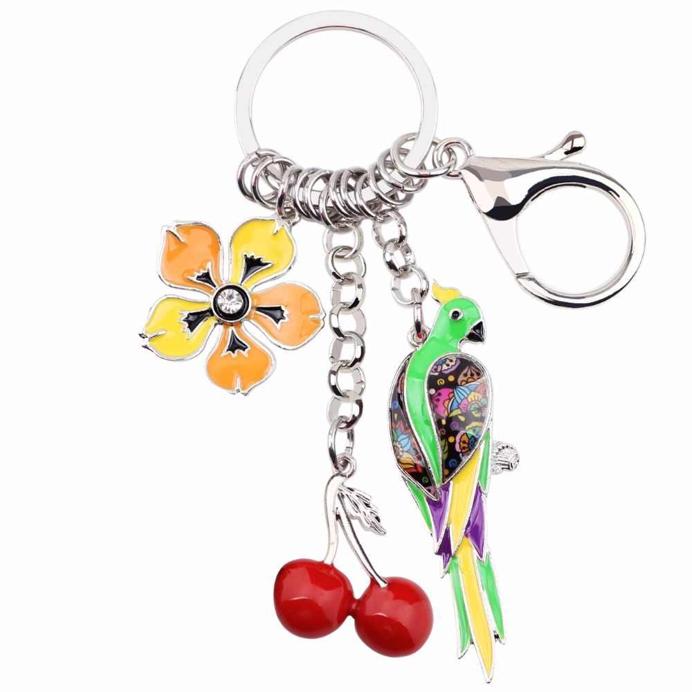Bonsny, эмалированные брелки для ключей в виде животных, птиц, попугая, вишни, цветов, женские Брелки, подарок для девушки, брелки, брелки для ключей, автомобильные брелки, ювелирные украшения
