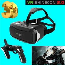 ¡ Caliente! gafas de realidad virtual vr shinecon 2.0 google cartón versión pro caja de vidrios de la película 3d vr para 3.5-6.0 pulgadas smartphone