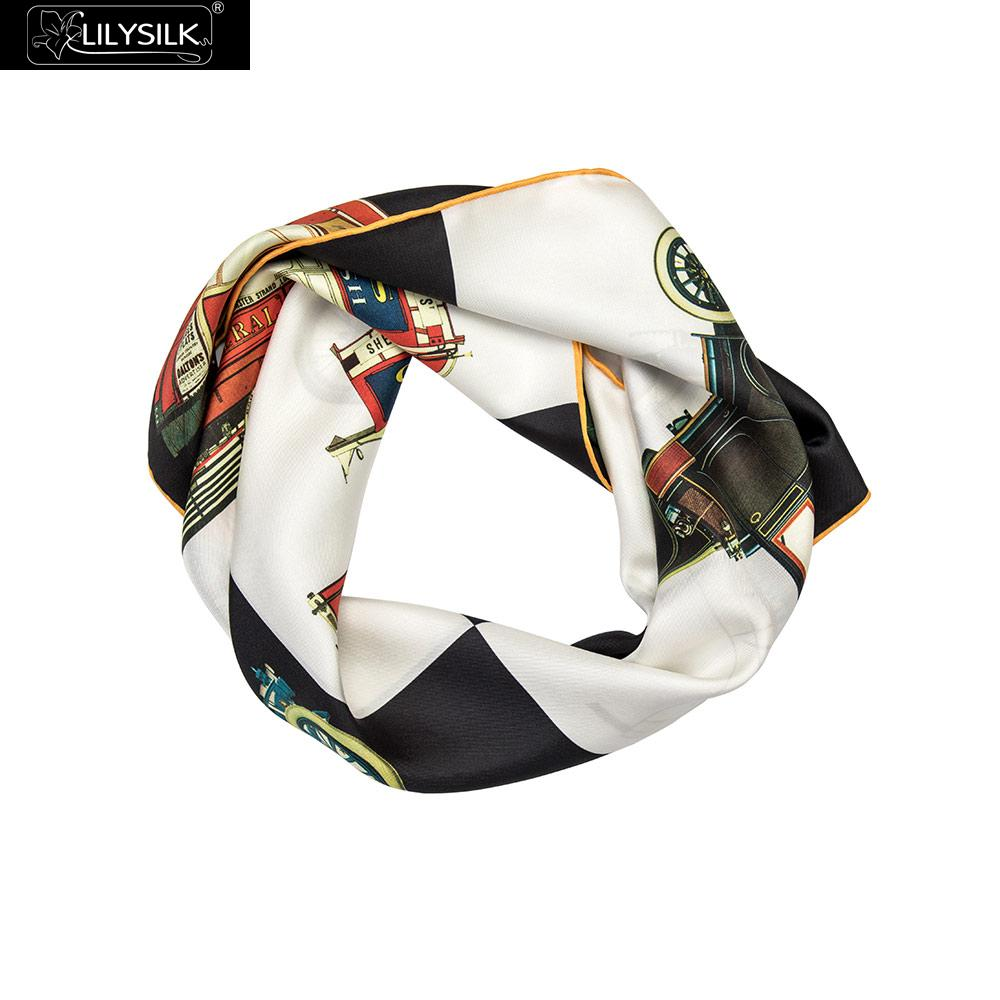 LilySilk Classic Printed Square Silk Scarf New Free Shipping