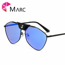 MARC 2019 Trend Women Sunglasses Metal glasses Pilot eyewear Polarized Brown Silver Mirror Lens Personailty Brand
