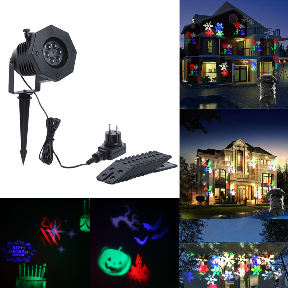 1pc EU Plug Waterproof 4LED Stage Light Snow Animal 12 Films Projector Holiday Lighting Children Toy